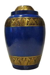 Blue metal cremation urn