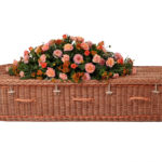 Curved Buff Willow Coffin With Orange Bands and Handles