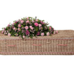 Curved Gold Willow Coffin With Pink Bands and Handles