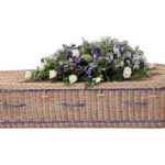 Curved Gold Willow Coffin With Purple Bands and Handles