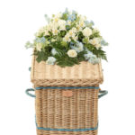 Traditional Willow Coffin in Gold with Royal Blue Bands and Handles - End