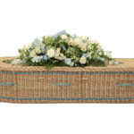 Traditional Willow Coffin in Gold with Royal Blue Bands and Handles - Side